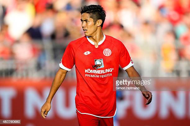 Yoshinori Muto of Mainz looks on during the Friendly Match between 1 FSV Mainz 05 and Lazio Roma at Bruchweg Stadion on July 29 2015 in Mainz Germany