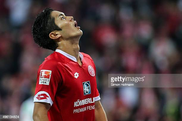 Yoshinori Muto of Mainz reacts during the Bundesliga match between 1 FSV Mainz 05 and VfL Wolfsburg at Coface Arena on November 7 2015 in Mainz...