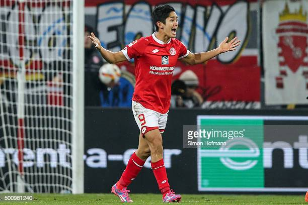 Yoshinori Muto of Mainz reacts during the Bundesliga match between 1 FSV Mainz 05 and VfB Stuttgart at Coface Arena on December 11 2015 in Mainz...
