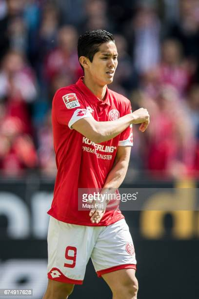 Yoshinori Muto of Mainz reacts during the Bundesliga match between 1 FSV Mainz 05 and Borussia Moenchengladbach at Opel Arena on April 29 2017 in...