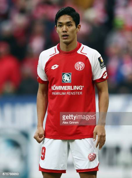 Yoshinori Muto of Mainz reacts during the Bundesliga match between 1 FSV Mainz 05 and 1 FC Koeln at Opel Arena on November 18 2017 in Mainz Germany