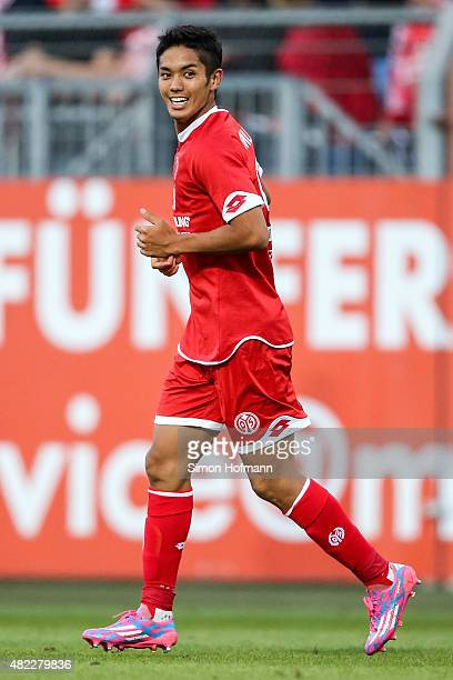 Yoshinori Muto of Mainz smiles during the Friendly Match between 1 FSV Mainz 05 and Lazio Roma at Bruchweg Stadion on July 29 2015 in Mainz Germany