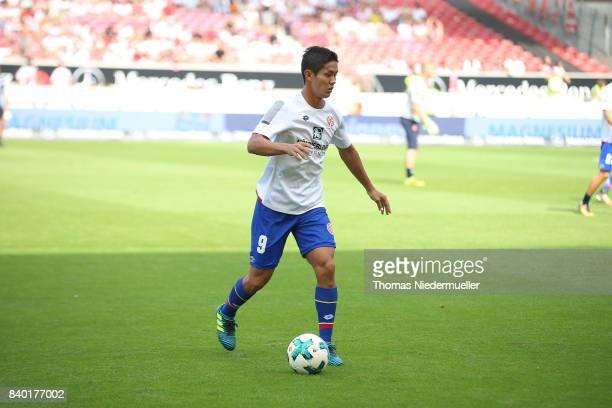 Yoshinori Muto of Mainz warms up prior to the Bundesliga match between VfB Stuttgart and 1 FSV Mainz 05 at MercedesBenz Arena on August 26 2017 in...