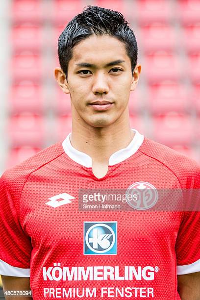 Yoshinori Muto poses during the 1 FSV Mainz 05 Team Presentation at Coface Arena on July 12 2015 in Mainz Germany