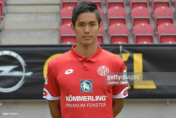 Yoshinori Muto poses during the official team presentation of 1 FSV Mainz 05 at Opel Arena on July 25 2016 in Mainz Germany