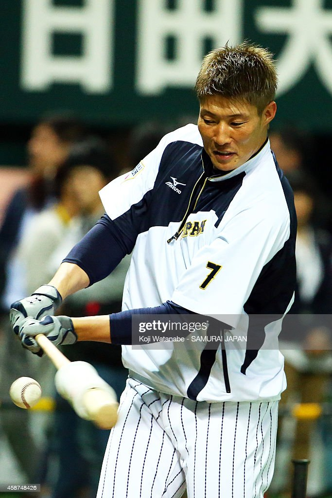 Yoshio Itoi of Japan in action during the friendly match between Samurai Japan and Fukuoka SoftBank Hawks Hokkaido Nipponham Fighters at Fukuoka...