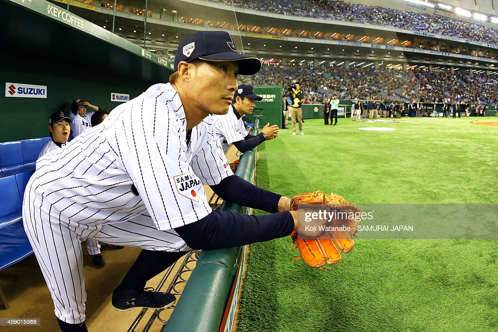 Yoshio Itoi of Samurai Japan looks on prior to the game three of Samurai Japan and MLB All Stars at Tokyo Dome on November 15 2014 in Tokyo Japan