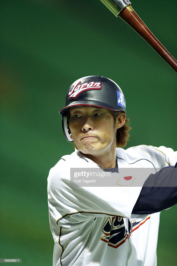 Yoshio Itoi of Team Japan hits soft toss during the World Baseball Classic workout day at the Yahoo Dome on February 27 2013 in Fukuoka Japan