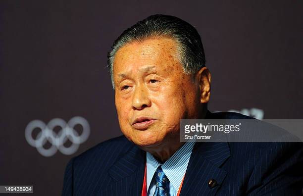 Yoshiro Mori speaks to the press during the Tokyo 2020 Olympic bid Press conference at The Main Press Center on July 28 2012 in London England