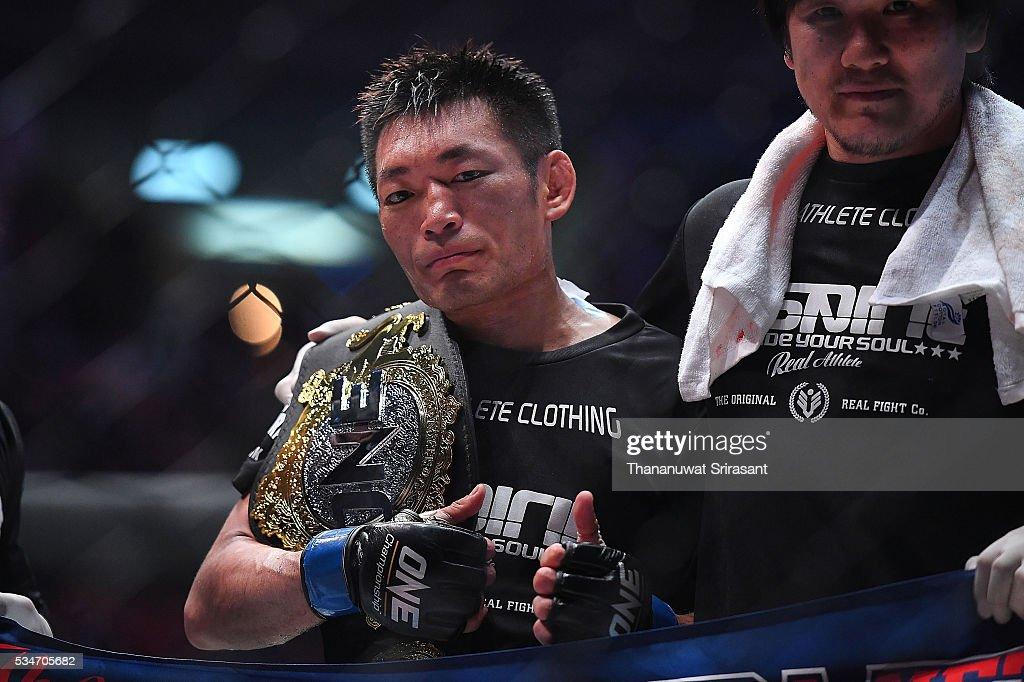 Yoshitaka Naito of Japan celebrates during the OneFC Kingdom of Champions on May 27, 2016 in Bangkok, Thailand.