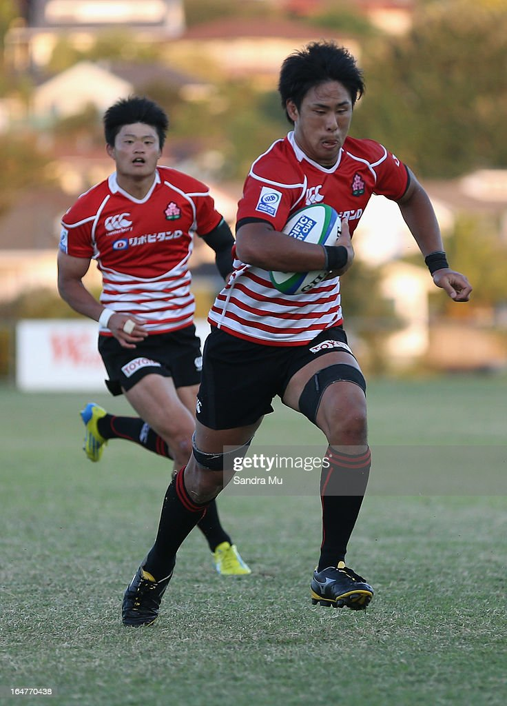 Yoshitaka Tokunaga of Japan in action during the Pacific Rugby Cup match between the Blues Development and Junior Japan at Bell Park on March 28, 2013 in Auckland, New Zealand.