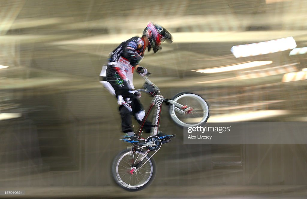 Yoshitaku Nagasako of Japan takes the first jump during the Men's Elite Time trials Superfinal in the UCI BMX Supercross World Cup at National Cycling Centre on April 19, 2013 in Manchester, England.