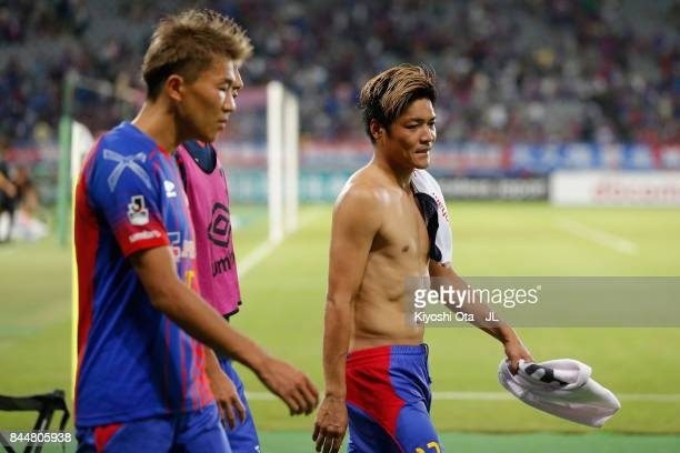 Yoshito Okubo of FC Tokyo and Kensuke Nagai of FC Tokyo show dejection after their 14 defeat in the JLeague J1 match between FC Tokyo and Cerezo...
