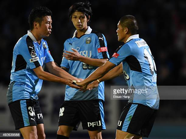 Yoshito Okubo of Kawasaki Frontale celebrates first goal with his team mates during Emperor's Cup third round match between Kawasaki Frontale and...