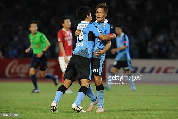 Yoshito Okubo of Kawasaki Frontale celebrates the third goal during the JLeague match between Kawasaki Frontale and Nagoya Grampus at Kawasaki...