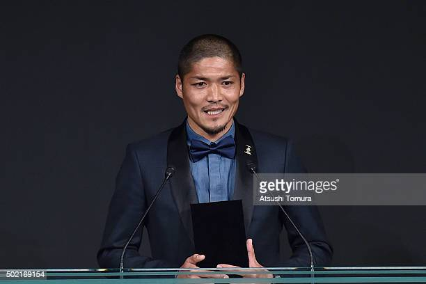 Yoshito Okubo of Kawasaki Frontale is awarded as the top scorer during the J League Awards 2015 on December 21 2015 in Tokyo Japan