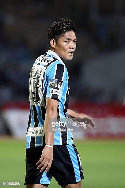 Yoshito Okubo of Kawasaki Frontale looks on the JLeague match between Kawasaki Frontale and Omiya Ardija at the Kawasaki Todoroki Stadium on June 25...