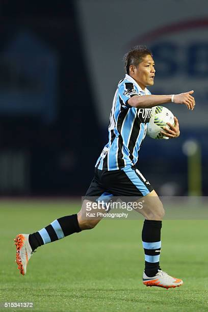 Yoshito Okubo of Kawasaki Frontale reacts after scoring his team's secong goal during the JLeague match between Kawasaki Frontale and Nagoya Grampus...
