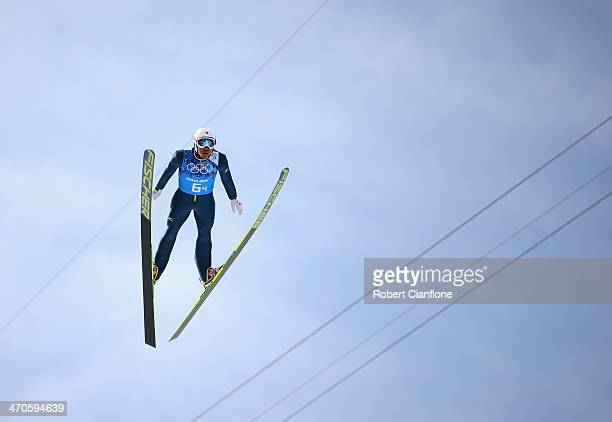 Yoshito Watabe of Japan competes in the Nordic Combined Team Large Hill on day 13 of the Sochi 2014 Winter Olympics at RusSki Gorki Jumping Center on...