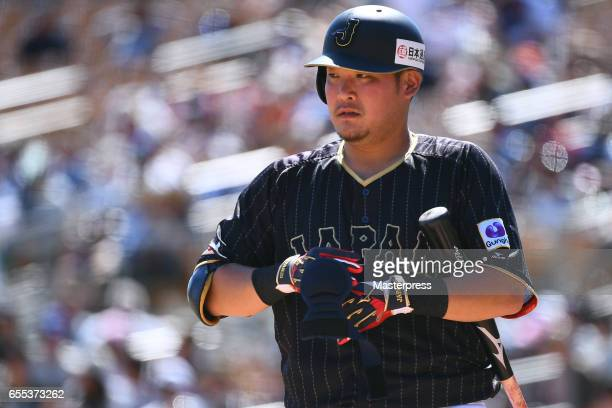 Yoshitomo Tsutsugo of Japan is seen during the exhibition game between Japan and Los Angeles Dodgers at Camelback Ranch on March 19 2017 in Glendale...