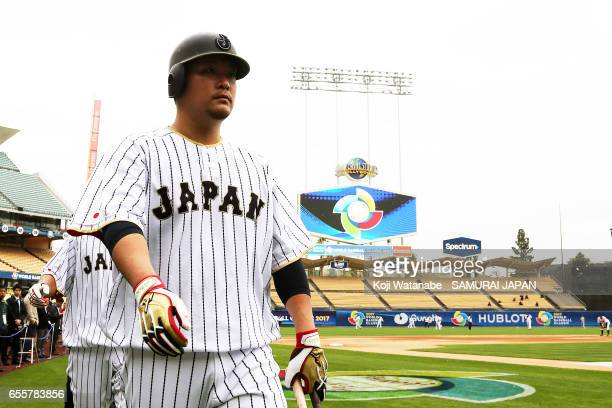 Yoshitomo Tsutsugoh of Japan in action during a training session ahead of the World Baseball Classic Championship Round at Dodger Stadium on March 20...