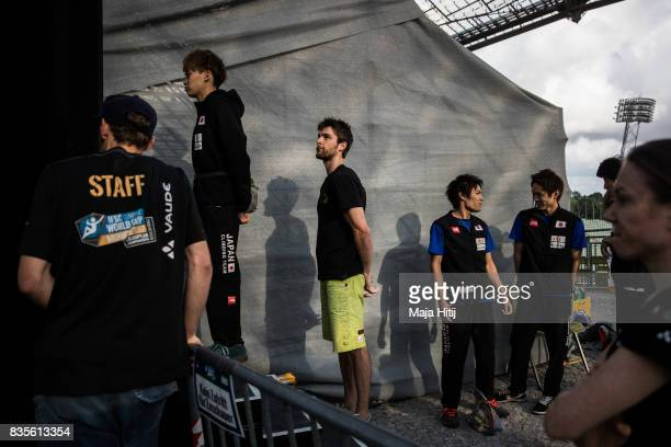 Yoshiyuki Ogata of Japan and Jan Hojer of Germany wait in isolation room prior the final at the IFSC Climbing World Cup Munich on August 19 2017 in...