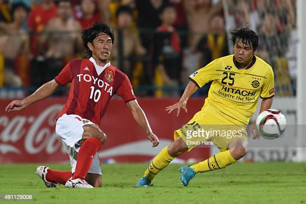 Yoshizumi Ogawa of Nagoya Grampus in action during the JLeague match between Kashiwa Reysol and Nagoya Grampus at Hitachi Kashiwa Stadium on October...