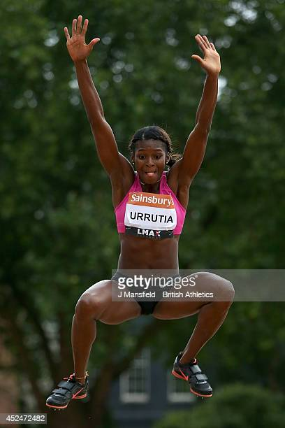 Yosiris Urrutia of Colombia in action in the Womens long jump during the Sainsbury's Anniversary Games at Horse Guards Parade on July 20 2014 in...