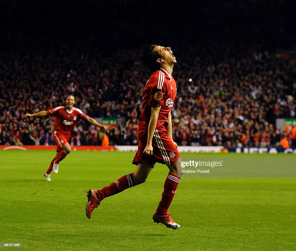 Yossi Benayoun of Liverpool celebrates after scoring the second goal during the UEFA Europa League Semi-Finals Second Leg match between Liverpool FC and Atletico Madrid at Anfield on April 29, 2010 in Liverpool, England.