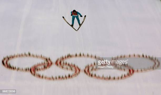 Yosuke Hatakeyama of Japan completes jump 2 of the Nordic Combined Normal Hill event on Day 1 of the 2006 Turin Winter Olympic Games on February 11...