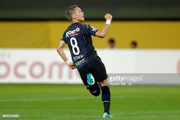 Yosuke Ideguchi of Gamba Osaka celebrates scoring his side's second goal during the JLeague J1 match between Vegalta Sendai and Gamba Osaka at Yurtec...