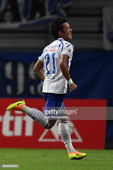 Yosuke Ideguchi of Gamba Osaka celebrates their third goal during the J League match between Nagoya Grampus and Gamba Osaka at the Toyota Stadium on...