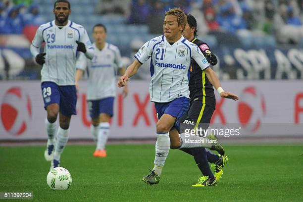 Yosuke Ideguchi of Gamba Osaka in action during the FUJI XEROX SUPER CUP 2016 match between Sanfrecce Hiroshima and Gamba Osaka at Nissan Stadium on...