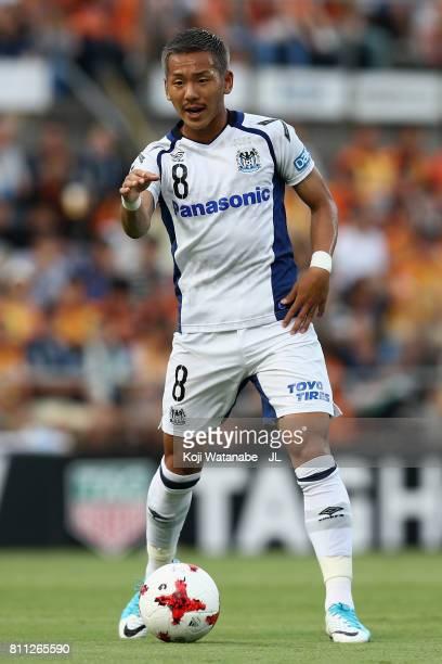 Yosuke Ideguchi of Gamba Osaka in action during the JLeague J1 match between Shimizu SPulse and Gamba Osaka at IAI Stadium Nihondaira on July 8 2017...
