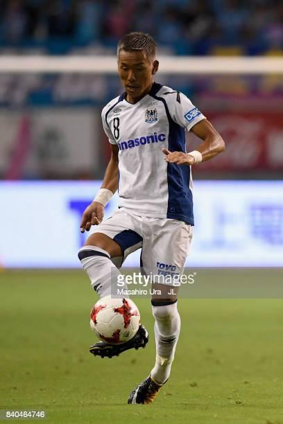 Yosuke Ideguchi of Gamba Osaka in action during the JLeague J1 match between Sagan Tosu and Gamba Osaka at Best Amenity Stadium on August 26 2017 in...