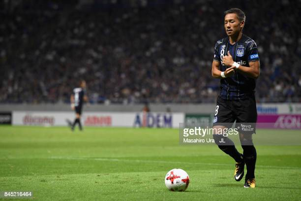Yosuke Ideguchi of Gamba Osaka prepares to take a corner kick during the JLeague J1 match between Gamba Osaka and Vissel Kobe at Suita City Football...