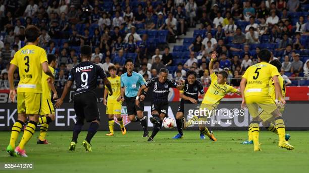 Yosuke Ideguchi of Gamba Osaka shoots at goal during the JLeague J1 match between Gamba Osaka and Kashiwa Reysol at Suita City Football Stadium on...