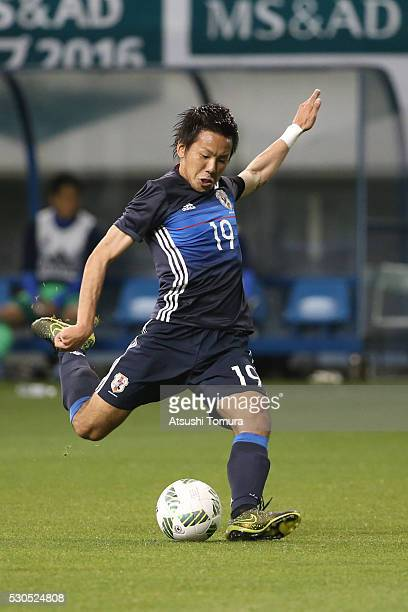 Yosuke Ideguchi of Japan in action during the international friendly match between U23 Japan v Ghana at Tosu Stadium on May 11 2016 in Tosu Japan