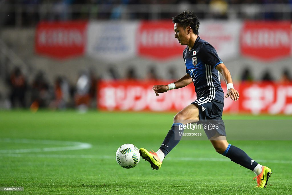 Yosuke Ideguchi of Japan in action during the U-23 international friendly match between Japan v South Africa at the Matsumotodaira Football Stadium on June 29, 2016 in Matsumoto, Nagano, Japan.