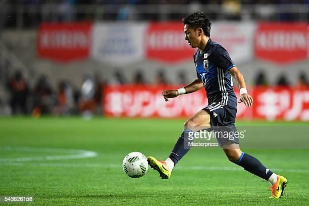 Yosuke Ideguchi of Japan in action during the U23 international friendly match between Japan v South Africa at the Matsumotodaira Football Stadium on...