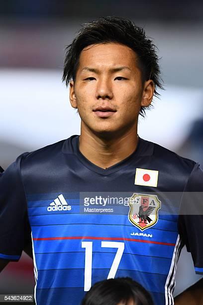 Yosuke Ideguchi of Japan looks on prior to the U23 international friendly match between Japan v South Africa at the Matsumotodaira Football Stadium...