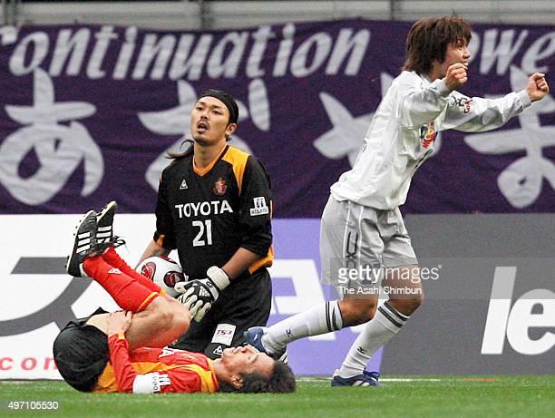 Yosuke Kashiwagi of Sanfrecce Hiroshima celebrates awarded a penalty after fouled by Toshiya Fujita of Nagoya Grampus Eight during the JLeague match...