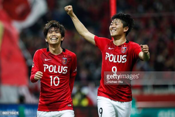 Yosuke KASHIWAGI of Urawa Red Diamonds celebrates his scoring during the JLeague J1 match between Urawa Red Diamonds and Vegalta Sendai at Saitama...