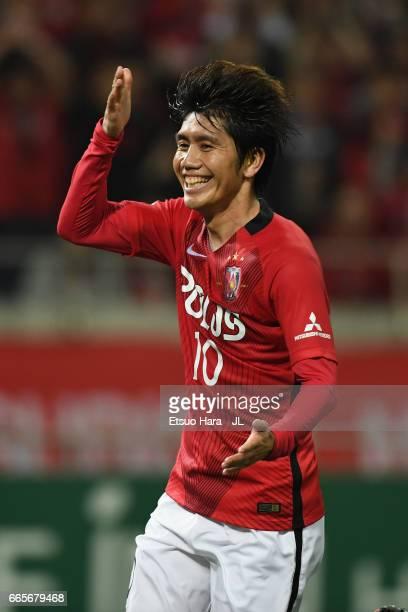 Yosuke Kashiwagi of Urawa Red Diamonds celebrates scoring his side's seventh goal during the JLeague J1 match between Urawa Red Diamonds and Vegalta...