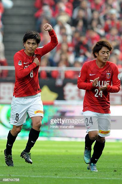 Yosuke Kashiwagi of Urawa Red Diamonds celebrates scoring his team's third goal during the JLeague match between Urawa Red Diamonds and Vissel Kobe...