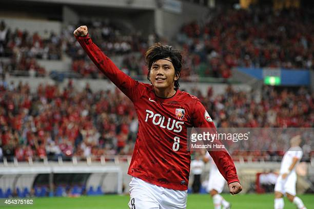 Yosuke Kashiwagi of Urawa Red Diamonds celebrates their second goal during the J League match between Urawa Red Diamonds and Omiya Ardija at Saitama...