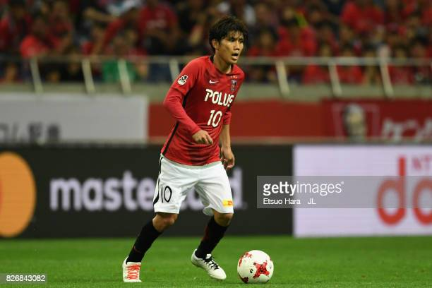 Yosuke Kashiwagi of Urawa Red Diamonds during the JLeague J1 match between Urawa Red Diamonds and Omiya Ardija at Saitama Stadium on August 5 2017 in...