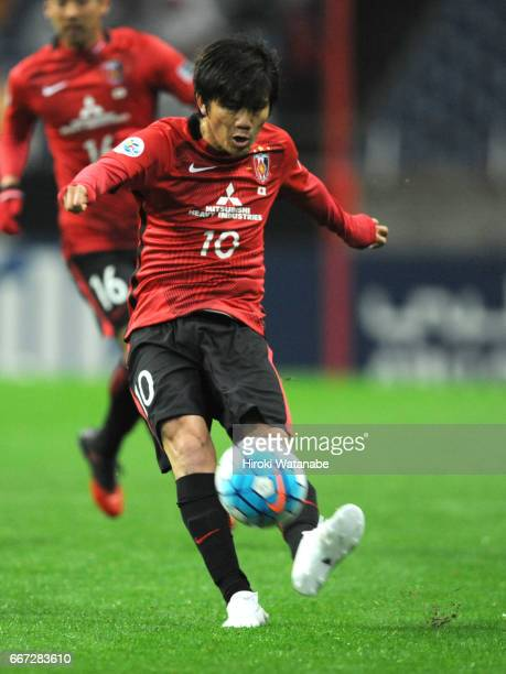 Yosuke Kashiwagi of Urawa Red Diamonds in action during the AFC Champions League Group F match between Urawa Red Diamonds and Shanghai SIPG FC at...