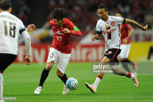Yosuke Kashiwagi of Urawa Red Diamonds in action during the AFC Champions League Group F match between Urawa Red Diamonds and Western Sydney at...