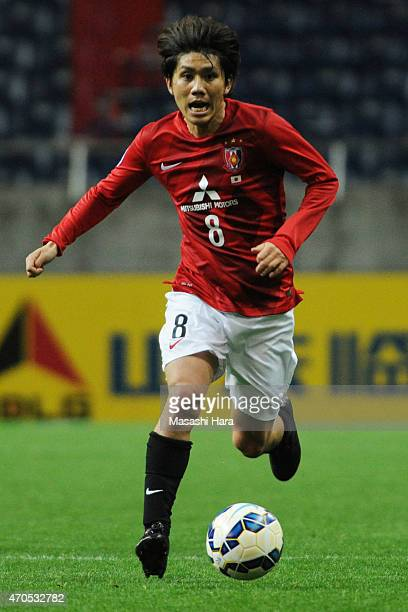 Yosuke kashiwagi of Urawa Red Diamonds in action during the AFC Champions League Group G match between Urawa Red Diamonds and Suwon Samsung FC at...